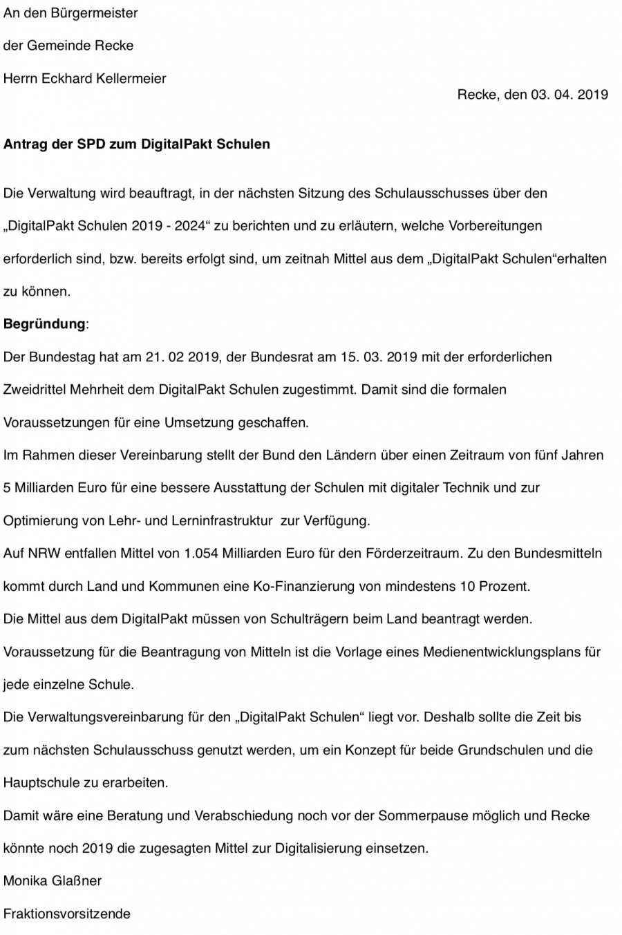 Antrag der SPD zum DigitalPakt Schulen